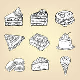 Doodle pencil drawing of cake cheesecake waffle pudding. Macaroon ice cream crepe pancake pie and other international sweet dessert icon collection set, create Stock Image
