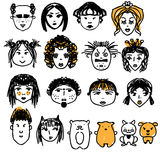Doodle people faces. Hand drawn man and woman avatars, cute animals. Artisitic design elements. Doodle people faces. Hand drawn man and woman avatars, cute Royalty Free Stock Image