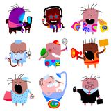 Doodle people icon set in flat style Stock Image