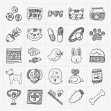 Doodle pet icons set Stock Photo
