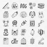 Doodle pet icons set. Cartoon vector illustration Royalty Free Stock Image