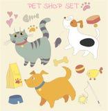 Doodle pet shop set. Stock Photography