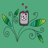 Doodle phone with open love letter Royalty Free Stock Images