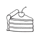 Doodle of a piece of cake with cream and cherry. Vector illustration. Hand drawn doodle of a piece of cake with cream and cherry. Cartoon sketch. Decoration for Royalty Free Stock Photos