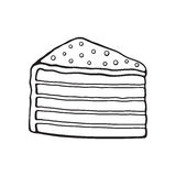 Doodle of a piece of multilayered cake with glaze cream and sugar dragees Stock Photo