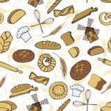 Doodle piekarnia, chlebowy bezszwowy wzór barwiony Obraz Stock