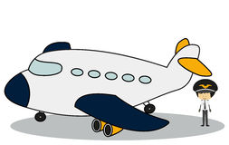 Doodle Pilot with his plane - Full Color Royalty Free Stock Images