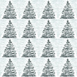 Doodle Pine Trees seamless background Royalty Free Stock Photo