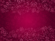 Doodle Pink Card with Flower and Butterflies Royalty Free Stock Images