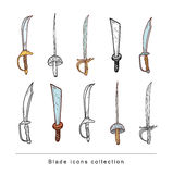 Doodle pirate blade, vector illustration. Royalty Free Stock Image