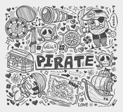 Doodle pirate elememts Stock Photo