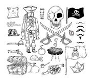 Doodle pirate elememts, vector illustration. Royalty Free Stock Photography