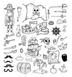 Doodle pirate elememts, vector illustration. Royalty Free Stock Photo