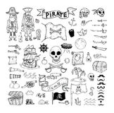 Doodle pirate elememts, vector illustration. Royalty Free Stock Photos