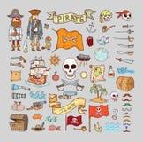 Doodle pirate elememts, vector illustration Stock Photo