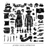 doodle pirate elememts, vector illustration. black. Royalty Free Stock Photos
