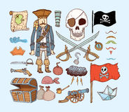 doodle pirate elements,  illustration. Royalty Free Stock Images