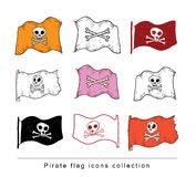 Doodle pirate flag, vector illustration. Stock Images