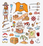 Doodle pirate illustration. Royalty Free Stock Photo