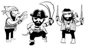 Doodle pirates with weapon Stock Photo