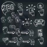 Doodle planu aktywność główny seo z ikonami Zdjęcie Stock