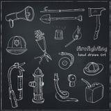 Doodle pożarniczego boju narzędzia ustawiają rocznik ilustrację Obrazy Royalty Free