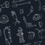 Doodle pożarniczy bój wytłacza wzory bezszwową deseniową rocznik ilustrację Obraz Stock
