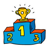 Doodle podium with prize cup. Sketch picture of sport podium and prize cup Stock Photography