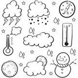 Doodle pogoda z obłoczną podeszczową wodą royalty ilustracja