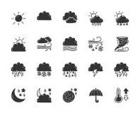 Doodle pogodowe ikony ustawiać Ręk rysunkowe ikony Fotografia Royalty Free