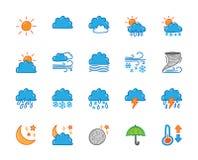 Doodle pogodowe ikony ustawiać Ręka rysunkowego koloru ikony Fotografia Royalty Free