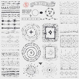 Doodle point pattern brushes,wreath,frame,burst.Black Royalty Free Stock Images