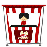 Doodle Popcorn Seller - Full Color Royalty Free Stock Image