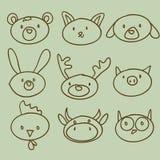 Doodle principal animal dos desenhos animados Imagens de Stock