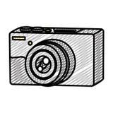 Doodle professional digital camera technology object. Vector illustration stock illustration