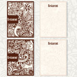 Doodle projekt dla restauraci, cukierniany menu Set broszurki Zdjęcie Stock