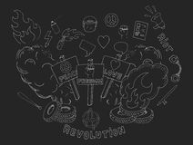 Doodle protest sketches. Chalk. Doodle sketch art. Protest hand drawn chalk symbols set isolated on blackboard Royalty Free Stock Image