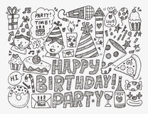 Doodle przyjęcia urodzinowego tło Zdjęcia Stock