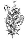 Doodle psicodélico Estilo de la tinta del esquema ilustración del vector