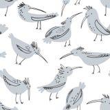 Doodle ptaków bezszwowy wzór Tło z śmiesznym lataniem ilustracji