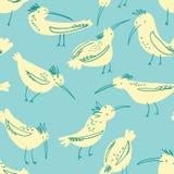 Doodle ptaków bezszwowy wzór Tło z śmiesznym lataniem ilustracja wektor