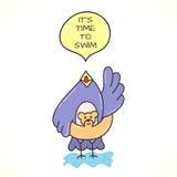Doodle ptak z mowa bąblem Zdjęcie Royalty Free