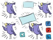 Doodle ptaki ikona komunikacyjni ogólnospołeczni środki - znak - ilustracja wektor