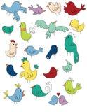 Doodle ptaki Ustawiający Obrazy Royalty Free