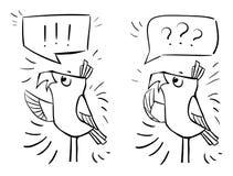 Doodle ptaki z bąblami - emocja szok, niespodzianka, bewildermen ilustracja wektor