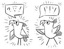 Doodle ptaki z bąblami - emocja szok, radość, zawstydzenie, h ilustracja wektor