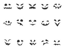 Doodle Pumpkin Carving face set Royalty Free Stock Image