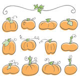 Doodle Pumpkin Elements Stock Images
