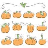 Doodle Pumpkin Elements Stock Images