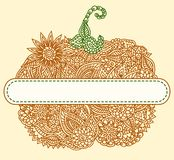 Doodle pumpkin tag Royalty Free Stock Images
